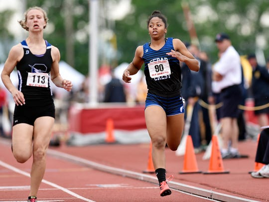 Cedar Crest's Desiree Holloman competes in the Class 3A 100-meter dash in the PIAA track and field meet Saturday, May 27, 2017, at Shippensburg University.