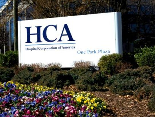 A sign at Hospital Corporation of America's headquarters