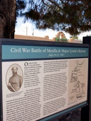 A plaque commemorates the Civil War battle that occurred in Mesilla in July 1861.