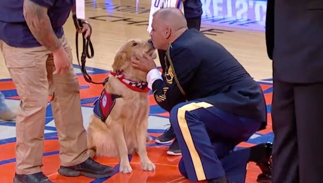 An Army veteran meets his new service dog for the first time.