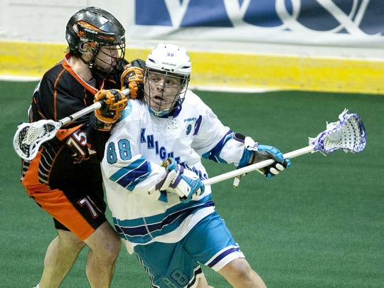 Cody Jamieson, right, has been named team MVP and a championship series MVP for the Knighthawks multiple times.