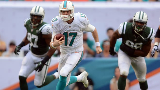 Miami Dolphins quarterback Ryan Tannehill (17) spoke Monday with reporters about the Ted Wells report.