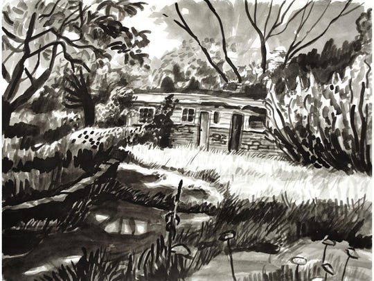 """""""Beaver Lake House,"""" ink on paper, is by Amy Talluto."""