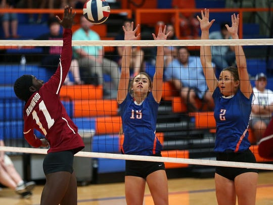 Central High School's Trinity Southall (15) is pictured in a match from 2016.