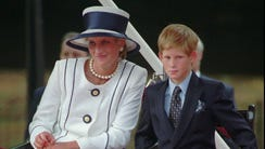 Princess Diana with her younger son Prince Harry on
