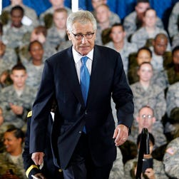 Defense Secretary Chuck Hagel visits MacDill Air Force Base in Tampa for briefings on the Islamic State on Sept. 17.
