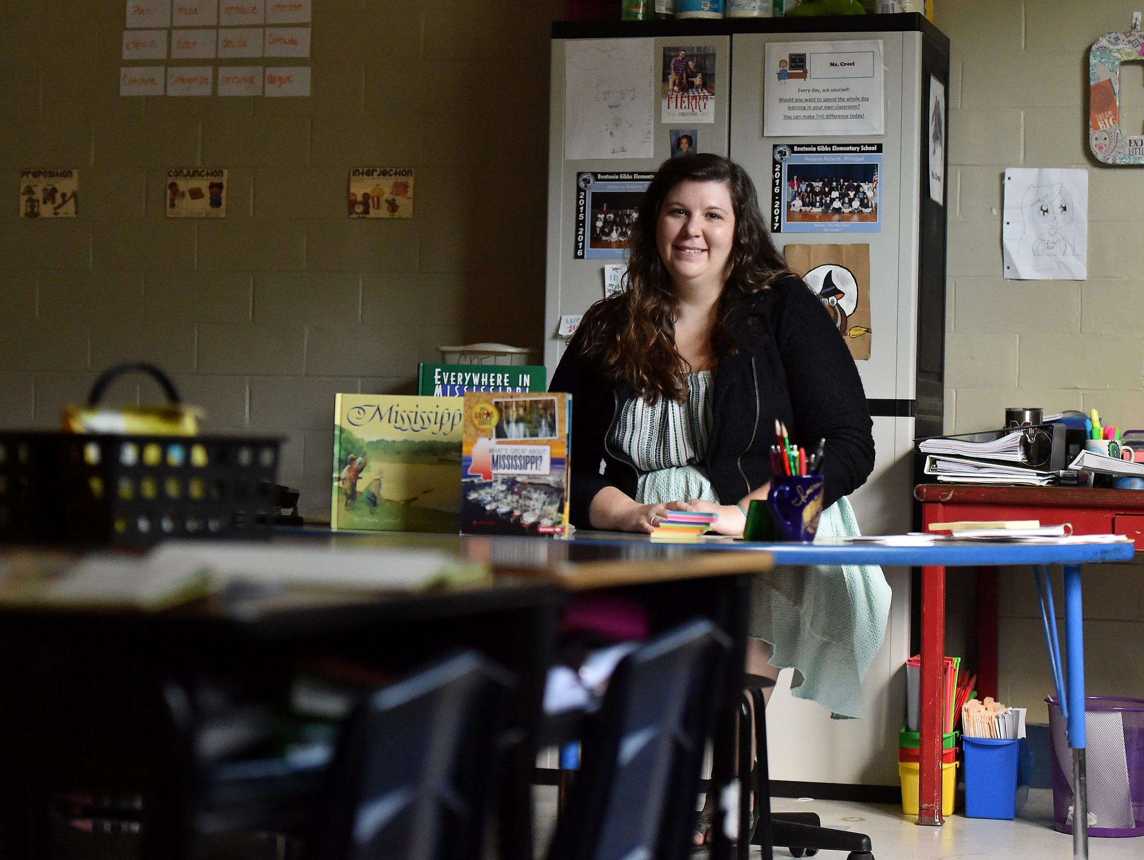 Bentonia Gibbs Elementary teacher Danielle Creel sits