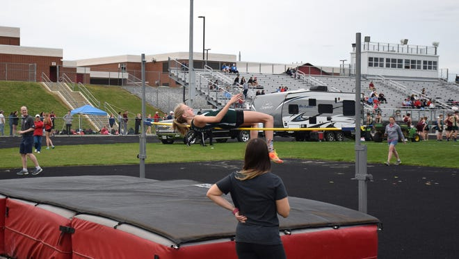 Wilson Memorial's Paige Miller competes in the high jump in a dual meet held April 5 at East Rockingham High School. The school will host the VHSL Group 1A/2A meet on June 2 and 3.