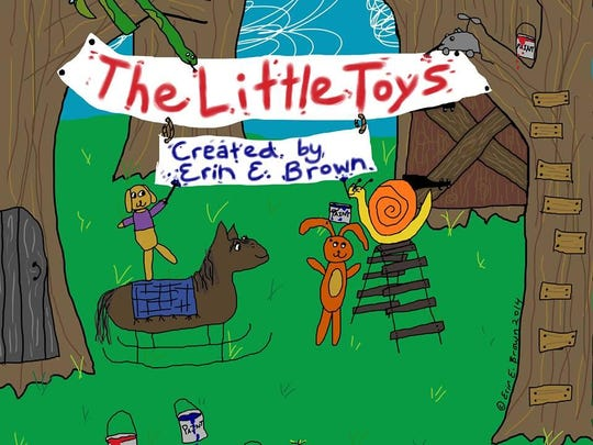 An image from Erin Brown's book, 'The Little Toys Wonder ... What Happened to the Dinosaurs?'