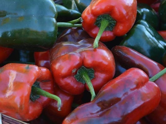 Sweet peppers at market