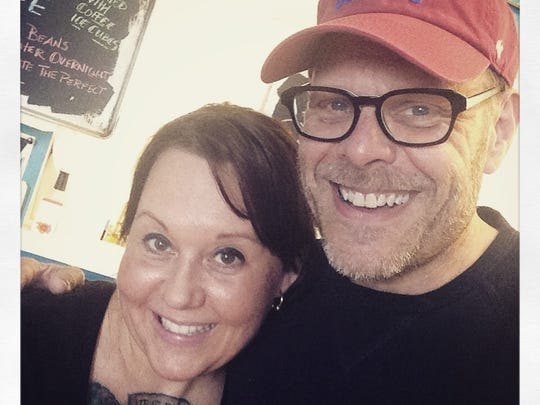 Food Network star Alton Brown took a selfie with chef-owner Christa Leigh at 11:Eleven Cafe. Brown had lunch at the south Fort Myers restaurant before performing at Mann Hall in February 2015.