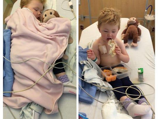 """Nunny, a stuffed monkey, has been by Elizabeth """"Effy"""" Watson's side since her leukemia diagnosis in July 2013."""