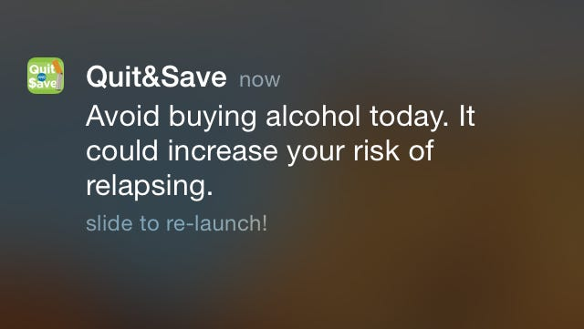 The Tobacco Quit and Save app sends gentle reminders to users as they pass by stores that sell tobacco or alcohol. The app is available to Colorado residents.