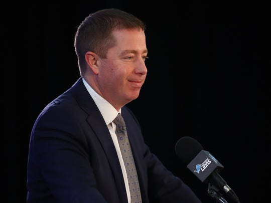 ALLEN PARK, MI - FEBRUARY 07: General Manager Bob Quinn of the Detroit Lions speaks at a press conference after introducing Matt Patricia as the Lions new head coach at the Detroit Lions Practice Facility on February 7, 2018 in Allen Park, Michigan. (Photo by Gregory Shamus/Getty Images)