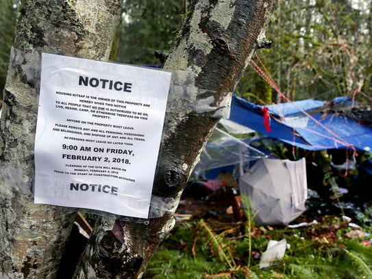 Dozens of camps have been set up on a wooded property on Almira Drive in East Bremerton. The camp formed after other homeless camps in the woods were disbanded.