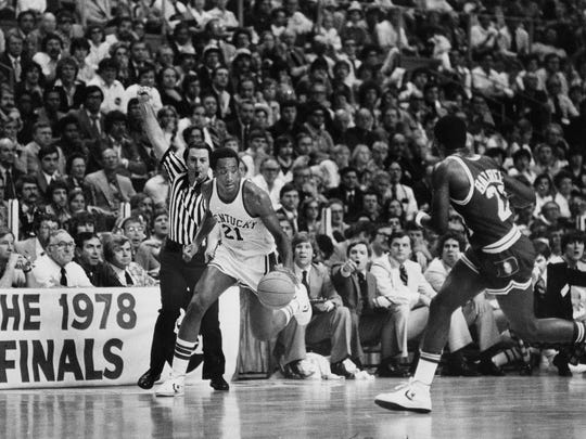 Jack Givens drives against Duke in the 1978 NCAA championship game.