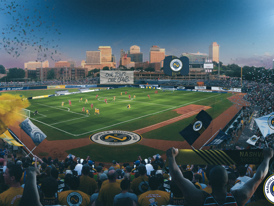 A main-bowl view of Nashville Soccer Club's plans for