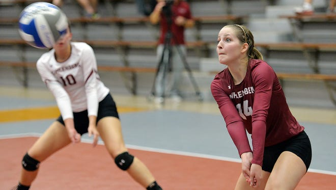 In her fourth year with Muhlenberg volleyball, libero Beth Garrison has over close to 1,100 career digs and 130 assists.