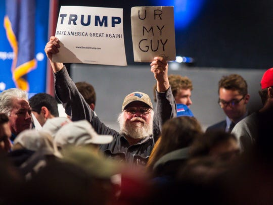 A supporter of Republican presidential candidate Donald