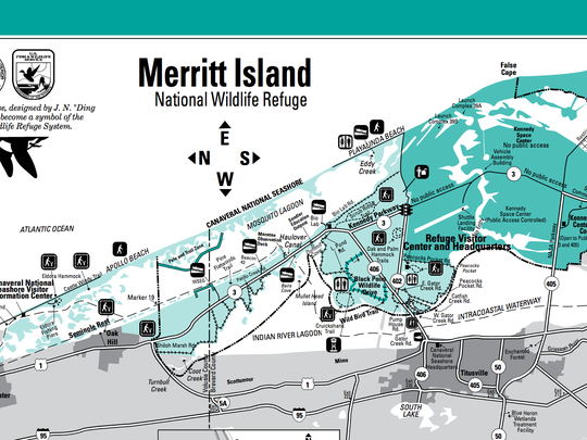 This map is available at the Visitors Center of the Merritt Island Wildlife Refuge.