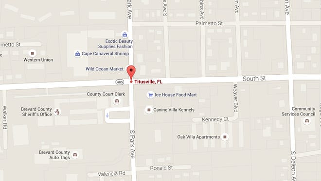 Location of a crash involving multiple vehicles in Titusville.