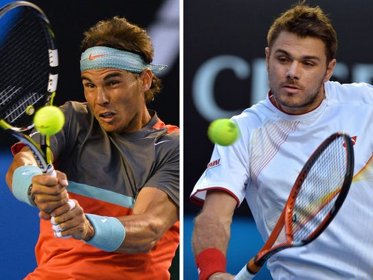 (FILES) This combo shows file photos of Spain's Rafael Nadal (L) against Switzerland's Roger Federer during their men's singles semi-final match at the 2014 Australian Open tennis tournament in Melbourne on January 24, 2014 and Switzerland's Stanislas Wawrinka (R) against the Czech Republic's Tomas Berdych in their semi-final match on January 23.  Nadal and Wawrinka will meet in the Australian Open men's final on January 26, 2014.           AFP PHOTO / FILES / SAEED KHAN (photo L)      AFP PHOTO / FILES / PAUL CROCK (photo R)