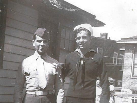 James McPherson, right, at the time of his enlistment