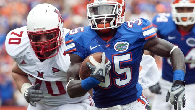 Florida safety Ahmad Black (35) returns an interception of a Miami (Ohio) pass before he is brought down short of the goal line during the first half in Gainesville on Sept. 4, 2010.