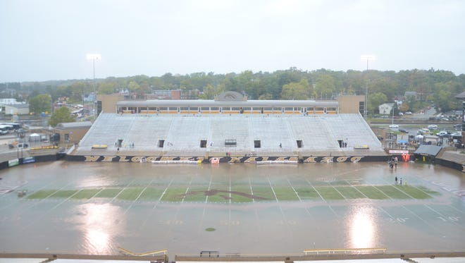 View of the field at Waldo Stadium after Saturday's game between Western Michigan and Akron had been postponed.