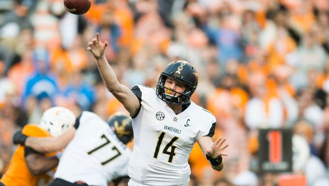 Vanderbilt quarterback Kyle Shurmur (14) throws the ball during a game between Tennessee and Vanderbilt at Neyland Stadium in Knoxville, Tenn., on Saturday Nov. 25, 2017.