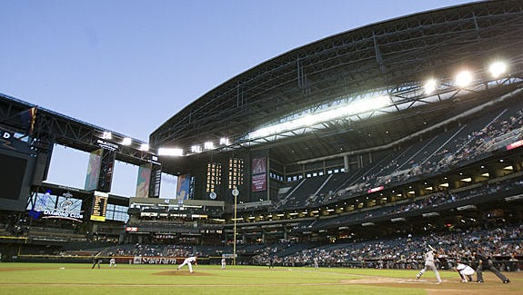 8. Chase Field: Chase Field, home of the Arizona Diamondbacks, opened in 1998 as Bank One Ballpark and is owned by the Maricopa County Stadium District. The ballpark, which has a retractable roof, air conditioning and a grass field, is for more than just sports. It's used for many events, including weddings, high school proms and technology events. The ballpark, 401 E. Jefferson St., was built with a quarter-cent sales tax, but that ended in 1997. All improvements have been funded with revenue generated by the district.