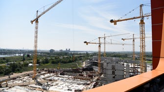 Construction of the water park, in the foreground, is underway at the American Dream site in East Rutherford on Monday.