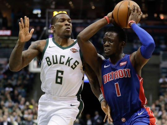 Detroit Pistons' Reggie Jackson tries to drive past Milwaukee Bucks' Eric Bledsoe during the first half of an NBA basketball game Wednesday, Dec. 6, 2017, in Milwaukee. (AP Photo/Morry Gash)