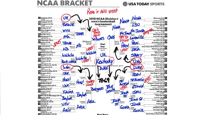 Here's the path managing editor Bob Heist has both Kentucky and Duke traveling to reach the NCAA Tournament championship game.