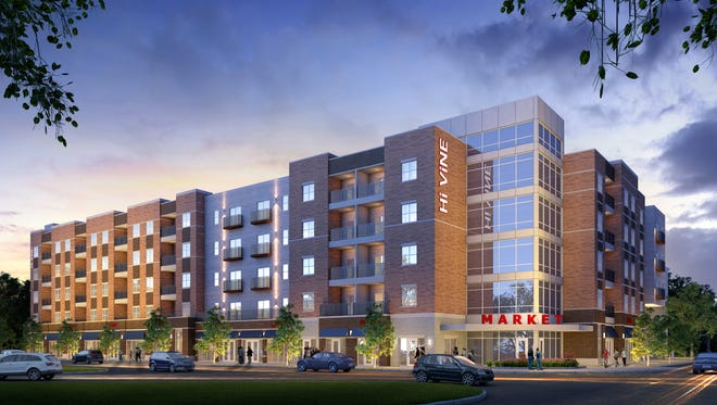 A five-story mix-use development at Vine and North streets in West Lafayette comes before the Area Plan Commission Wednesday for approval.