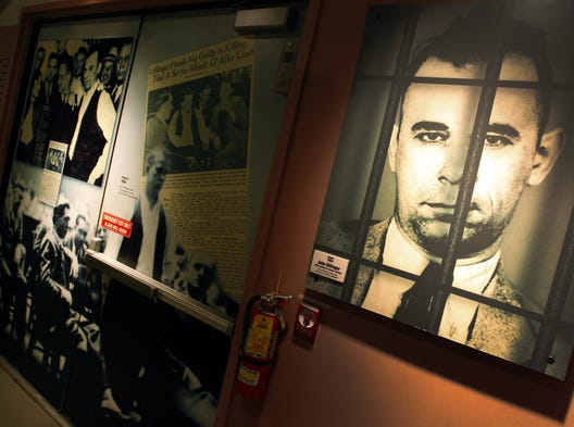 These photos are at the John Dillinger Museum in Hammond, Ind. The famed bank robber John Dillinger escaped from the Crown Point Jail in 1934, leading the FBI and the police on an interstate chase, before finally being shot and killed outside a theater in Chicago. The museum is moving from its spot at the Indiana Welcome Center on I-94 to downtown Crown Point, where it will reopen in March 2015.