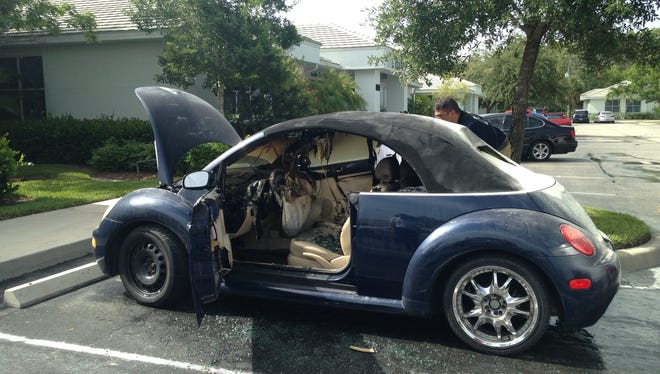 The owner was having trouble with fuses when this Volkswagen beetle burst into flames.