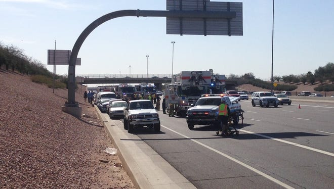 A crash involving at least three vehicles on U.S. 60 east near Gilbert Road on Thursday restricted traffic to two lanes.
