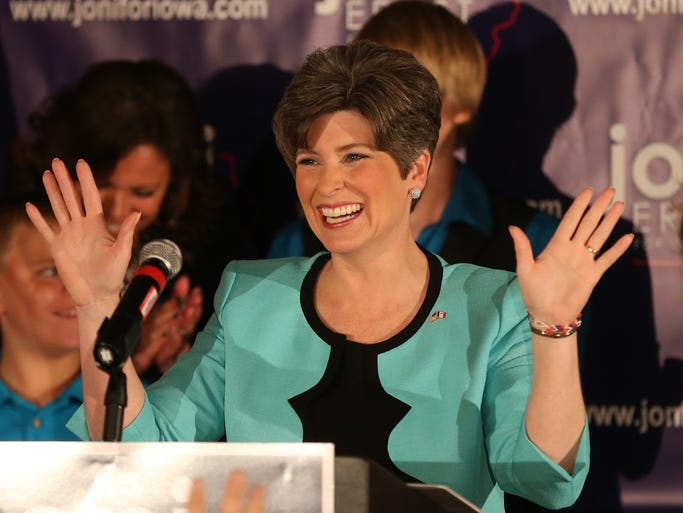 Joni Ernst delivers her remarks at a victory celebration during a primary election night party on Tuesday, June 3, 2014, at the Des Moines Social Club in downtown Des Moines, Iowa.