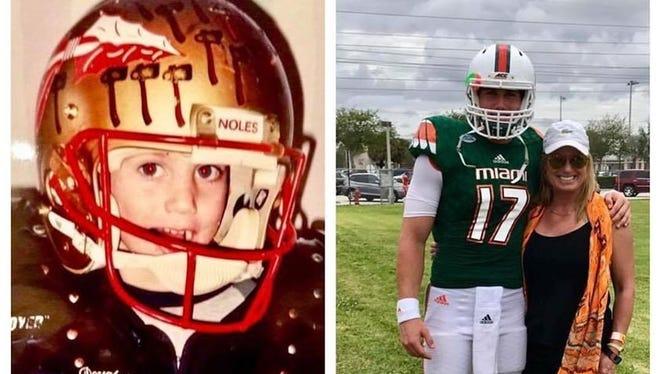 Lori Bembry Weldon with son Cade Weldon, a freshman quarterback at UM and son of former FSU QB Casey Weldon.