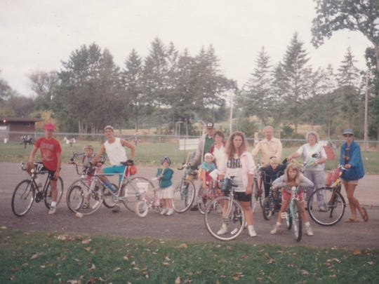 Family participants in the annual bike trip in 1991.