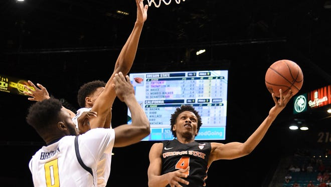 March 10, 2016; Las Vegas, NV, USA; Oregon State guard Derrick Bruce (4) scored a career-high 25 points against California in the Pac-12 tournament quarterfinals. Cal won 76-68.