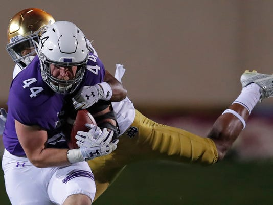 Book leads No. 3 Notre Dame over Northwestern, 31-21
