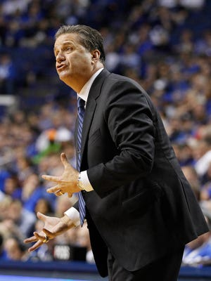 Dec 12, 2015; Lexington, KY, USA; Kentucky Wildcats head coach John Calipari reacts to a call during the game against the Arizona State Sun Devils in the second half at Rupp Arena. Kentucky defeated Arizona State 72-58. Mandatory Credit: Mark Zerof-USA TODAY Sports