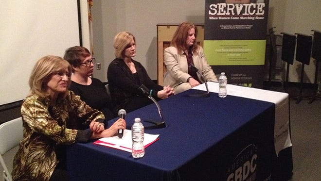 Director and producer Marcia Rock, left, joins panelists in a question-and-answer session about the documentary.