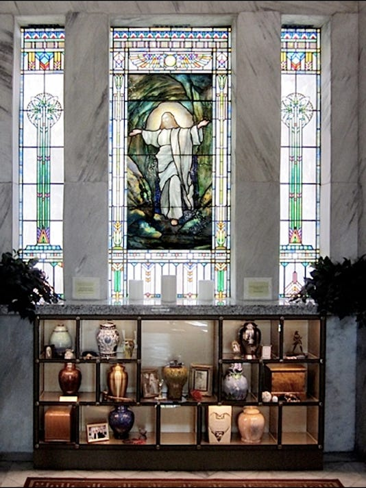 Rudy Brothers Stained-Glass Window in Entrance Chapel of Community Mausoleum at Prospect Hill Cemetery, York, PA (2015 Photo, S. H. Smith)
