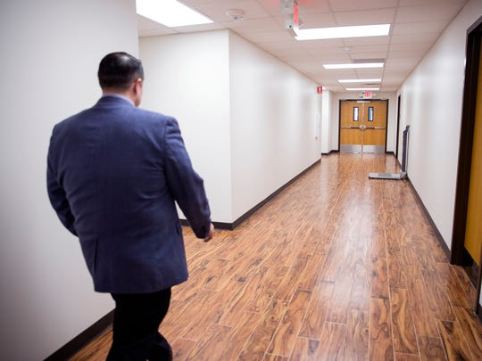 Reynaldo Leal, public affairs officer for Veterans Affairs Texas Valley Coastal Bend Health Care System, gives a tour of the VA outpatient clinic on Old Brownsville Road in Corpus Christi, TX on Friday, March 16, 2018. The facility received extensive damage during Hurricane Harvey and had to be completely gutted. Some patients have been seen at the clinic, however it officially reopens Monday.