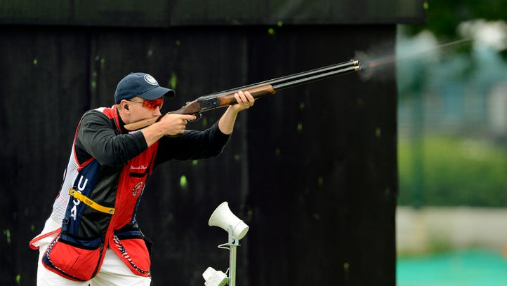 In a file photo from July 31, 2012, Vincent Hancock  competes during the 2012 London Olympic Games at Royal Artillery Barracks.