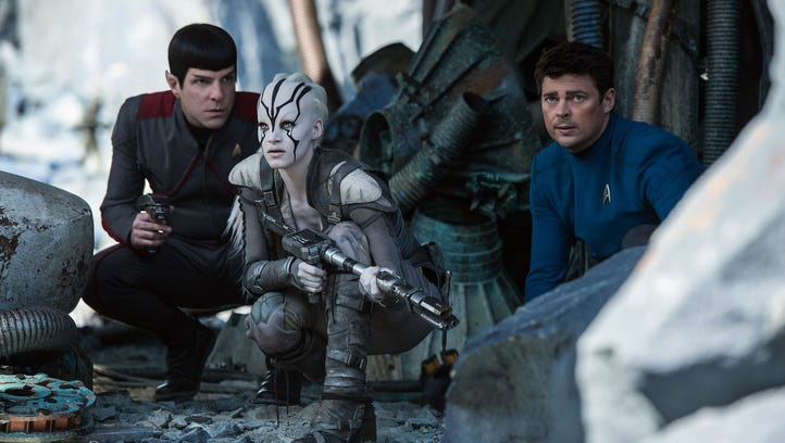 Zachary Quinto (left) plays Spock, Sofia Boutella plays