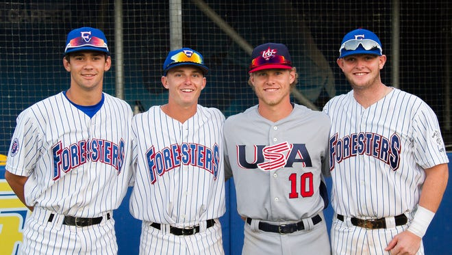 (Left to Right) Steven Wells Jr., Matt Henderson, Taylor Walls, and Bryan Bussey played against each other at Dodger Stadium this summer.